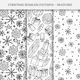 Collection of hand drawn seamless. Christmas patterns - swatches. Doodle style