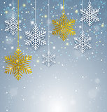 Christmas background with white and golden snowflakes