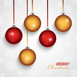 Christmas card with red orange spheres in the background