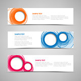 Collection banners with colorful abstract circles template