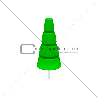 Green push pin in shape of tree
