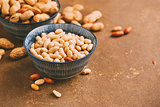 Peanuts in bowls close-up