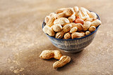 Raw peanuts in bowl