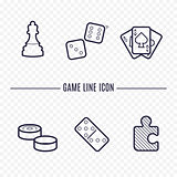 Games linear icons. Chess, dice, cards, checkers and other board games. Game thin linear signs. Outline concept for websites, infographic, mobile applications.