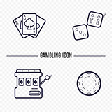 Gambling simple line icon. Card, dice, casino chip, slot mashine thin linear signs. Outline casino game simple concept for websites, infographic, mobile applications.