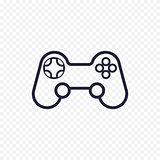 Game controller line icon. Gamepad thin linear signs for video computer game. Outline concept for websites, infographic, mobile app.
