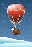 Santa Claus in air balloon