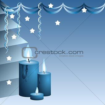 Blue Christmas candles