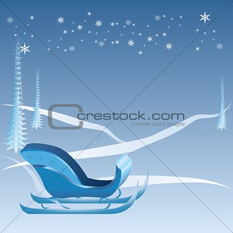 Blue Christmas with sleigh