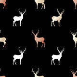 Black festive packaging paper with Christmas deers made of gold and bronze foil. Seamless vector pattern.