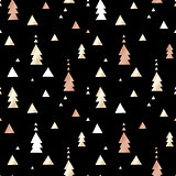 Black festive packaging paper with triangles made of gold and bronze foil. Seamless vector pattern.
