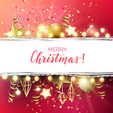 Festive Christmas and New Year vector design with gold confetti, xmas ornaments, glowing stars and light garlands.