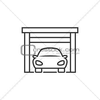 Car on garage icon
