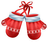 Red mittens pair santa isolated on white background. Christmas accessory