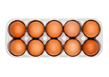 Raw farm fresh eggs in white paper tray