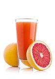 Glass of fresh grapefruit juice with fruit