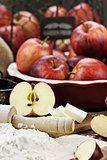 Fresh Apple Pie Ingredients and Rolling Pin
