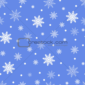 Winter seamless background with flat white snowflakes on a blue