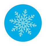 Winter seamless background with a flat white snowflake on a blue
