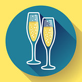 Two glasses of champagne flat icon - celebration symbol