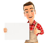 3d handyman holding placard with thumb up