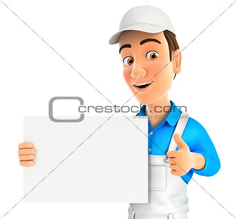 3d painter holding placard with thumb up