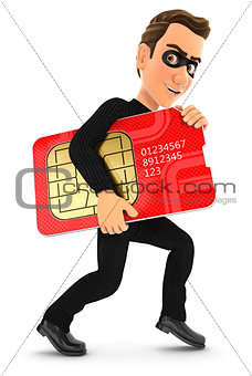 3d thief stealing a big sim card