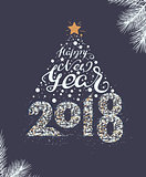 Happy New Year 2018 lettering text. Christmas tree decoration template mockup greeting card