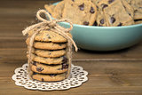 chocolate chip cookies with string bow