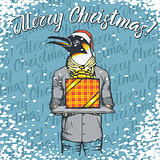 Vector illustration of penguin on Christmas with gift