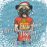 Vector illustration of dog on Christmas with gift
