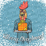 Vector illustration of cock on Christmas with gift