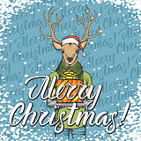 Vector illustration of deer on Christmas with gift