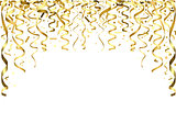 Golden Falling Confetti and Ribbons