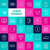 Vector Line Cyber Monday Icons