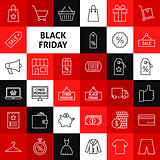 Vector Line Black Friday Icons
