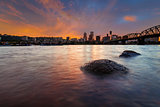 Portland Skyline along Willamette River at Sunset