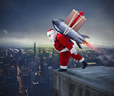 Fast delivery of Christmas gifts. Santa Claus ready to fly with a rocket