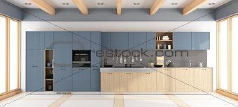 Modern wooden and purple kitchen