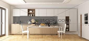 Modern wooden and white kitchen