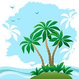 Landscape, Sea Beach with Palms