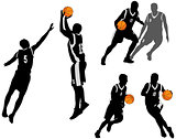basketball players silhouettes collection