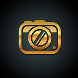 Stylish logos with a gold camera on a black background