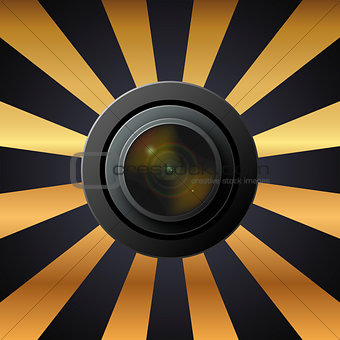 Camera lens with lenses on black and yellow background