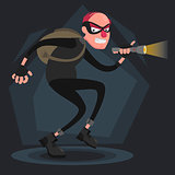 A balding thief wearing a mask smiles and sneaks with a flashlight in the dark