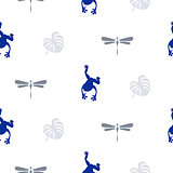 Silhouette of frog and dragonfly seamless pattern.