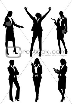 Six silhouettes businesswomen