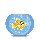 Vector illustration of cute cartoon gold fish in aquarium with b