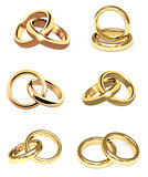 Set of gold wedding rings