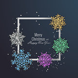 Christmas card decorated with shiny snowflakes. Happy New Year greeting card, vector illustration
